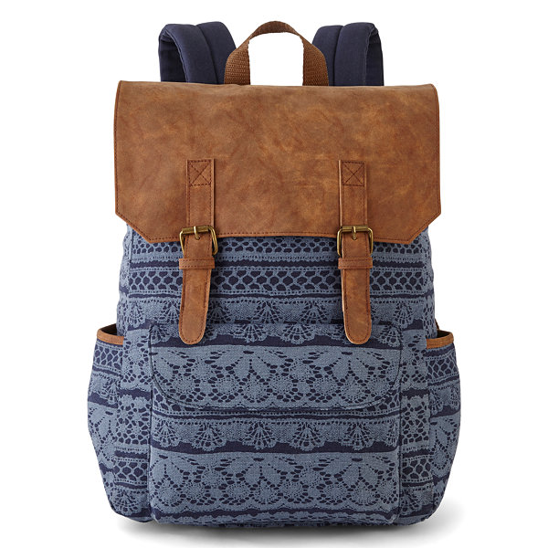 A D Sutton Print Cotton Vinyl Flap Zip Top Backpack