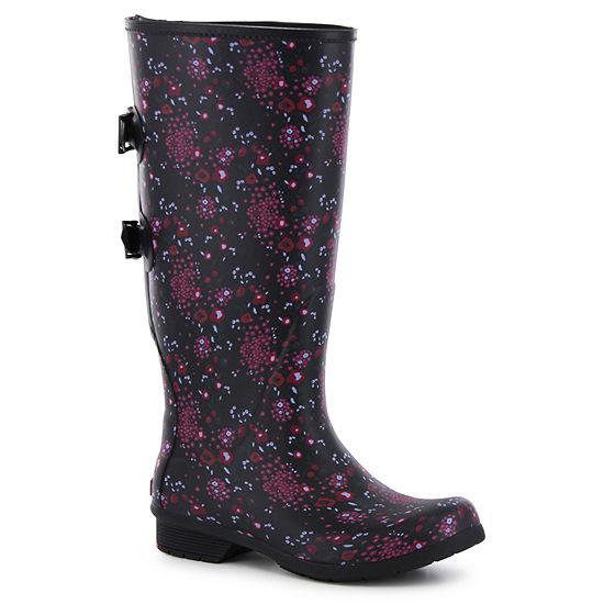 Chooka Fashion Womens Versa Zuri Rain Boots Waterproof Pull-on Wide Width