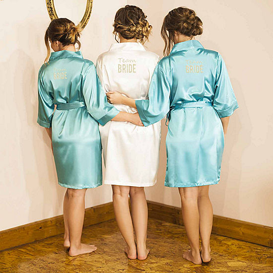 Cathy's Concepts Personalized Solid Satin Womens Satin Kimono Robes