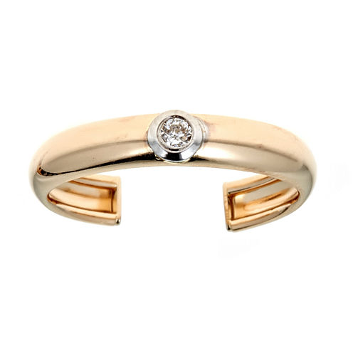 White Diamond 14K Gold Toe Ring