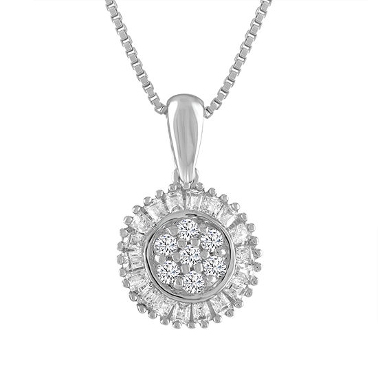 Diamond Blossom Womens 1/5 CT. T.W. Genuine White Diamond Pendant Necklace