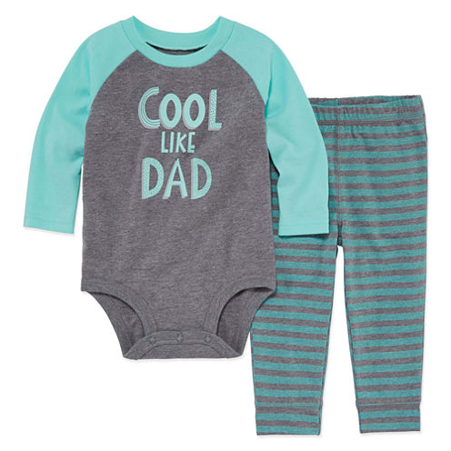 Okie Dokie 2-pc. Long Sleeve Bodysuit Set-Baby Boys