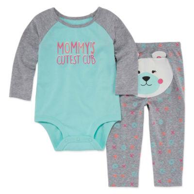 Okie Dokie Long Sleeve 2-pc. Bodysuit Set-Baby Girls