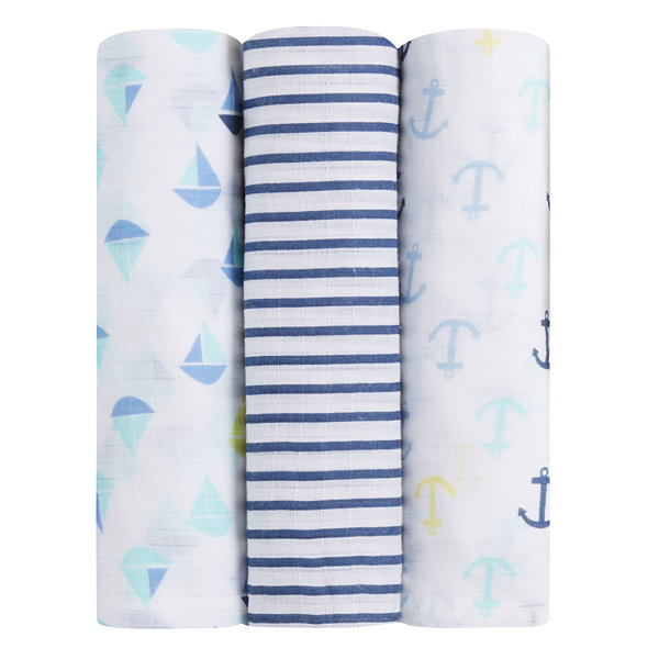ideal baby by the makers of Aden + Anais  3-pc. Swaddle Blanket-Set Sail