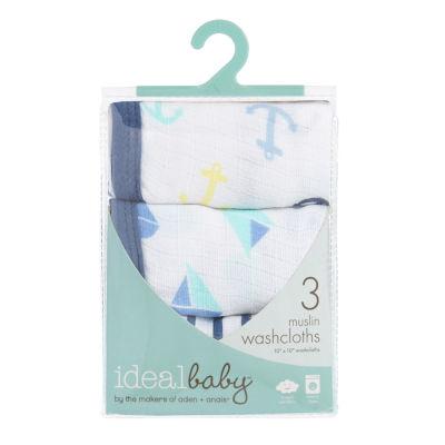 Ideal Baby 3-Pk  Washcloths- Set Sail