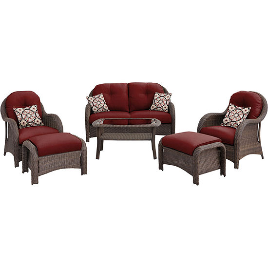 Hanover Woven Deep Seating 6 Pc Conversation Set