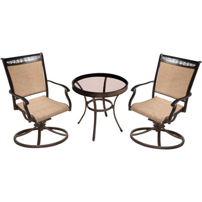 "Hanover Sling Swivel Chairs + 30"" Table 3-pc. Bistro Set"