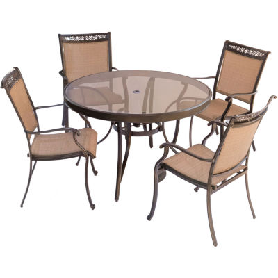 """Hanover Sling Dining Chairs + 48"""" Table 5-pc. Patio Dining Set"""