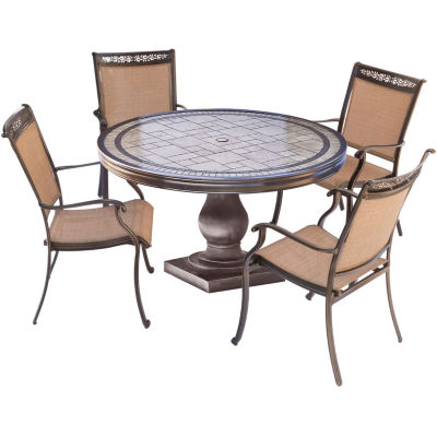 "Hanover Sling Dining Chairs + 51"" Table 5-pc. Patio Dining Set"