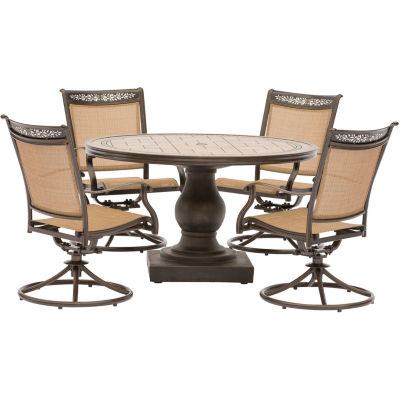 """Hanover Sling Swivel Chairs + 51"""" Table 5-pc. Patio Dining Set"""