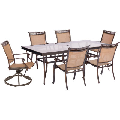 """Hanover Sling Swivel Chairs + 42x84"""" Table 7-pc. Patio Dining Set"""