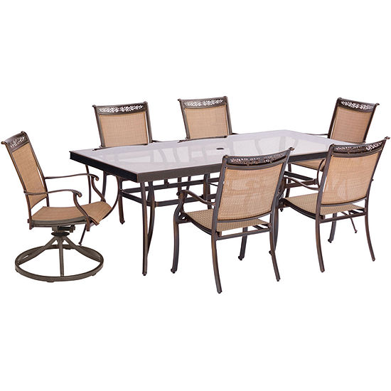 "Hanover Sling Swivel Chairs + 42x84"" Table 7-pc. Patio Dining Set"