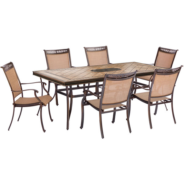 "Hanover Sling Dining Chairs + 40x68"" Table 7-pc. Patio Dining Set"