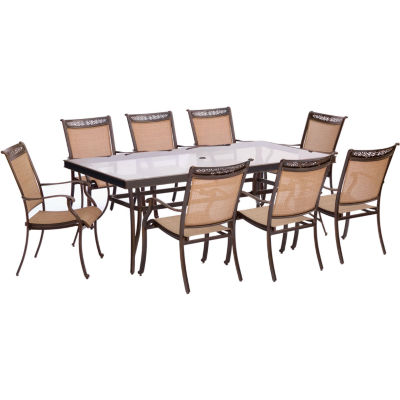 """Hanover Sling Dining Chairs + 42x84"""" Table 9-pc. Patio Dining Set"""