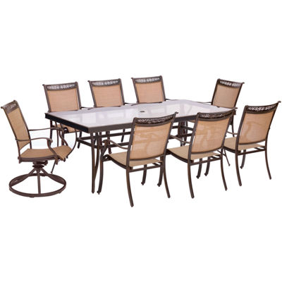 "Hanover Sling Dining Chairs + 42x84"" Table 9-pc. Patio Dining Set"
