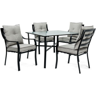 Hanover Stationary Chairs + Square Table 5 Pc. Patio Dining Set