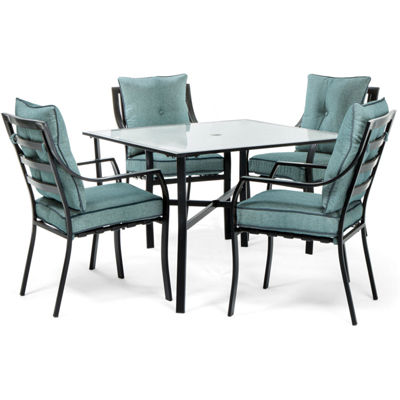 Hanover Stationary Chairs + Square Table 5-pc. Patio Dining Set