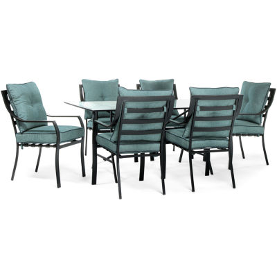Hanover Stationary Chairs + Square Table 7 Pc. Patio Dining Set