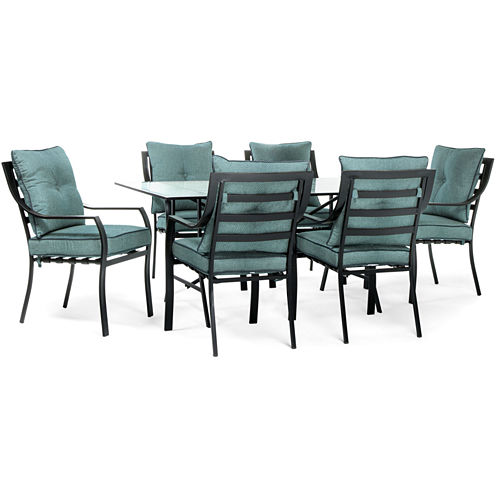 Hanover Stationary Chairs + Square Table 7-pc. Patio Dining Set