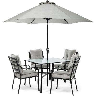 Hanover Chairs; Table; Umbrella + Base 5-pc. Patio Dining Set