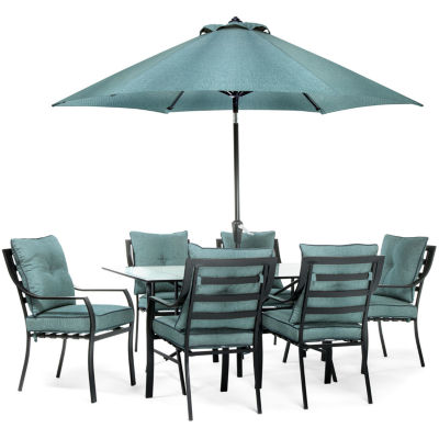Hanover Chairs; Table; Umbrella + Base 7-pc. Patio Dining Set