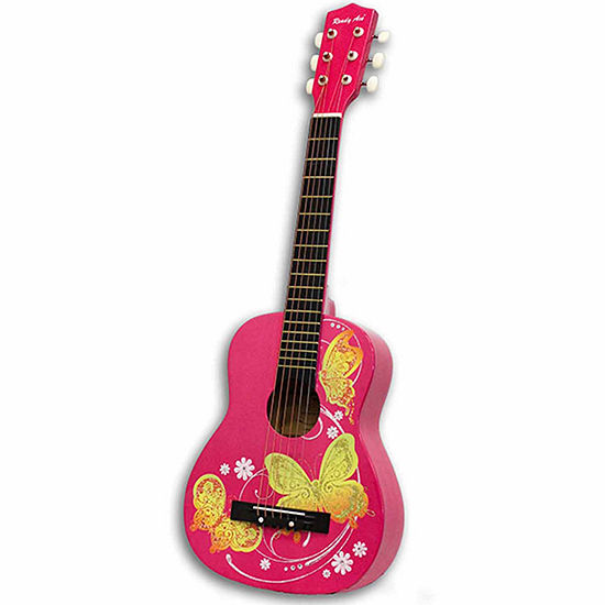 "Ready Ace 30"" Pink Butterfly Guitar"""