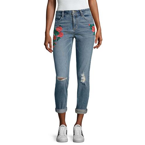 Arizona Embroidered Rose Jeans-Juniors
