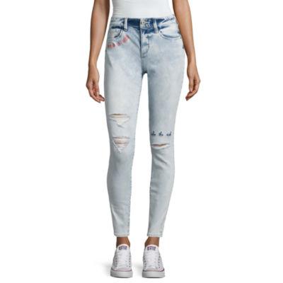 Arizona Embroidered Writing Jeans-Juniors