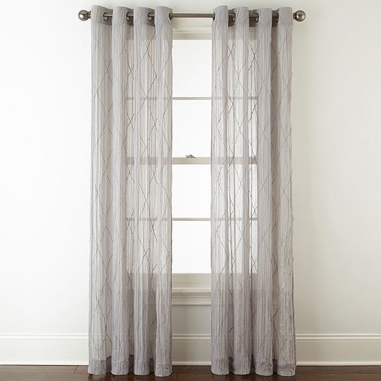 Linden Street Farmhouse Grommet Sheer Curtain Panel