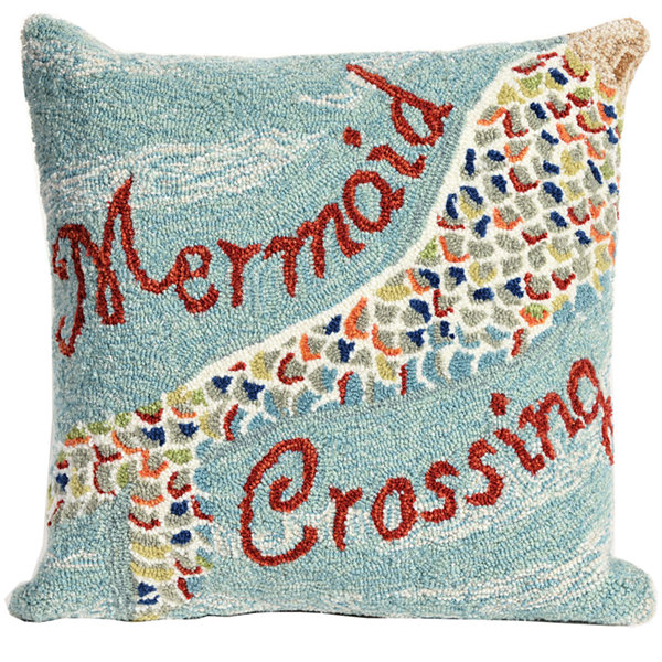 Liora Manne Frontporch Mermaid Crossing Square Outdoor Pillow