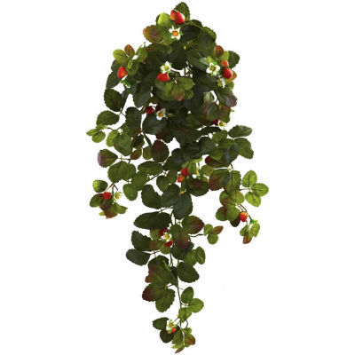 "2-pc. 31"" Strawberry Hanging Bush With  Berry"