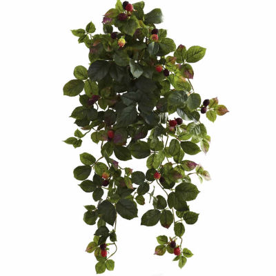 """2-pack 32"""" Raspberry Hanging Bush With Berry"""
