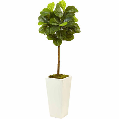 Real Touch 4.5' Fiddle Leaf Fig In White Planter