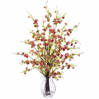 Cherry Blossom In Glass Vase Floral Arrangement