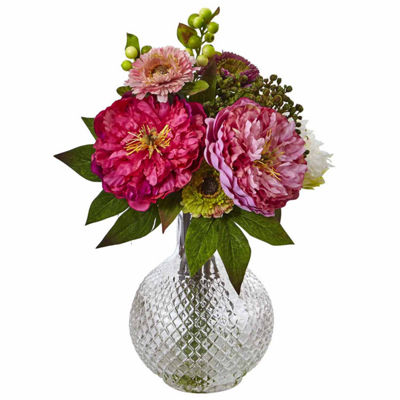 Peony And Mum In Glass Vase Floral Arrangement