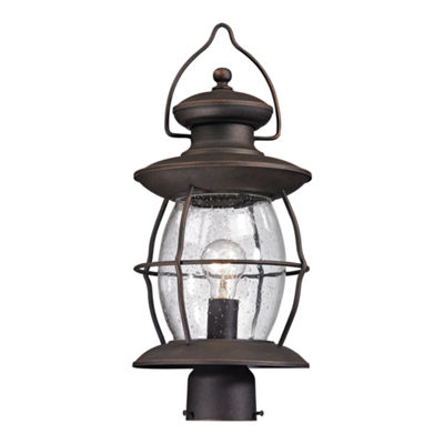 Village Lantern 1-Light Outdoor Post Light In Weathered Charcoal