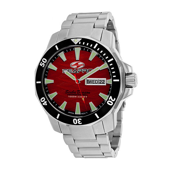 Sea-Pro Mens Silver Tone Stainless Steel Bracelet Watch-Sp8317s