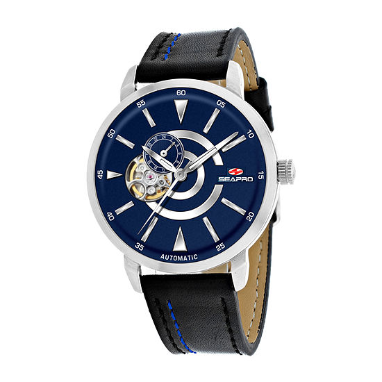 Sea-Pro Mens Automatic Black Leather Strap Watch-Sp0143