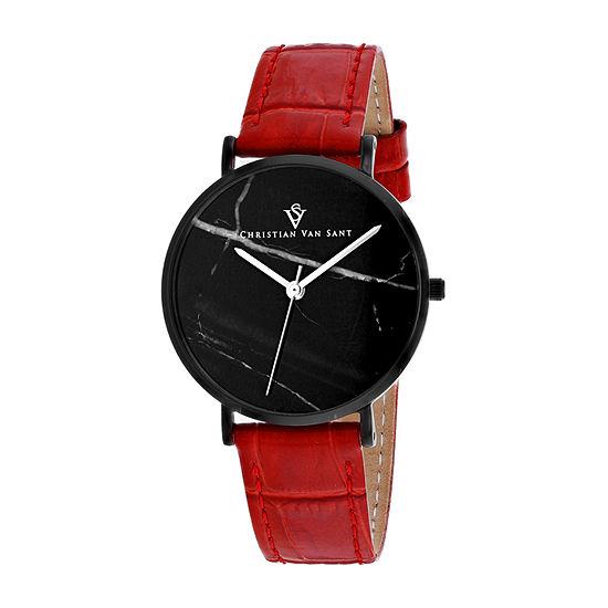 Christian Van Sant Womens Orange Leather Strap Watch-Cv0424rd