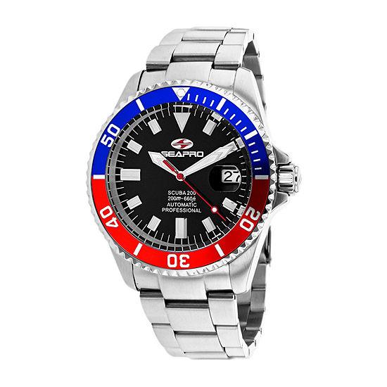 Sea-Pro Mens Automatic Silver Tone Stainless Steel Bracelet Watch - Sp4319