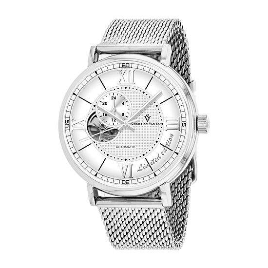 Christian Van Sant Mens Automatic Silver Tone Stainless Steel Bracelet Watch - Cv1140