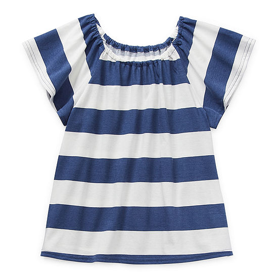 Arizona Little & Big Girls Round Neck Short Sleeve Peasant Top