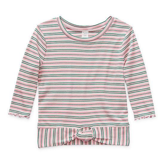 Arizona Little & Big Girls Round Neck 3/4 Sleeve T-Shirt