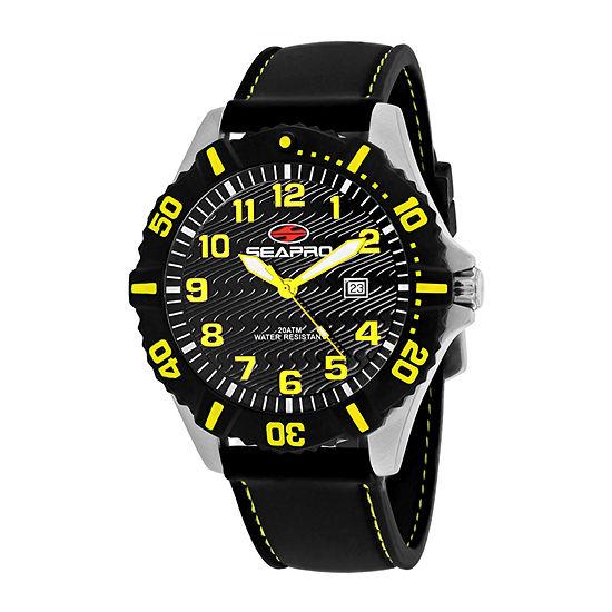 Sea-Pro Mens Black Strap Watch-Sp1512