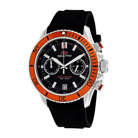 Sea-Pro Mens Black Strap Watch-Sp0334