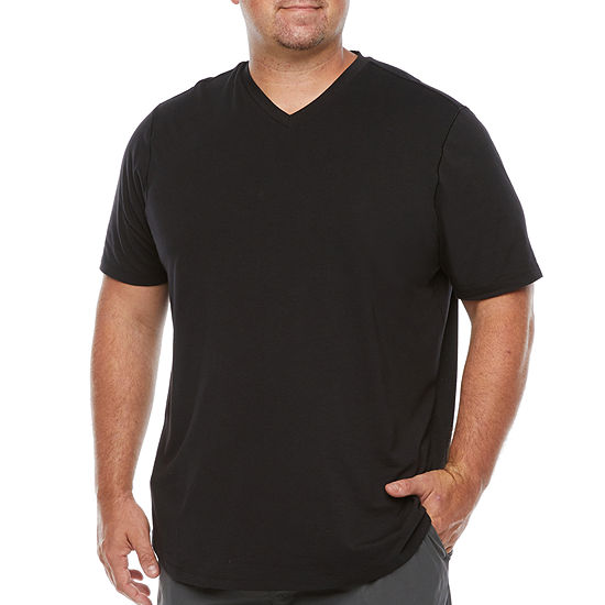 Stylus Big & Tall Mens Stretch Pima Cotton V Neck Short Sleeve T-Shirt