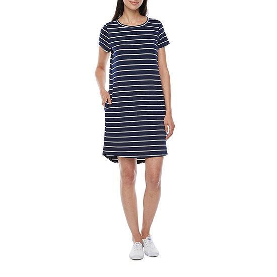 St. John's Bay Short Sleeve High-Low T-Shirt Dress