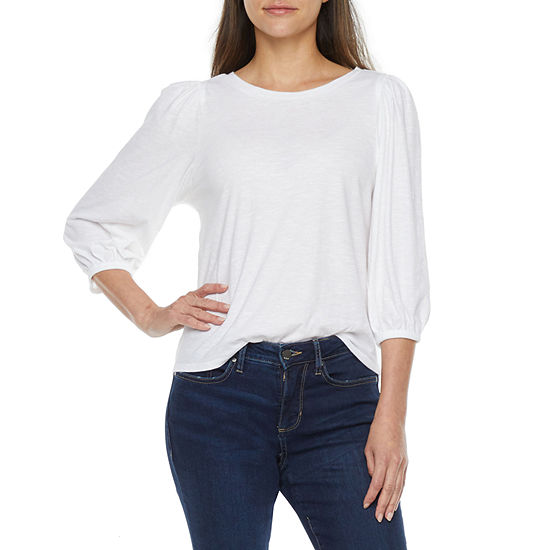 a.n.a Womens Round Neck 3/4 Sleeve Tunic Top