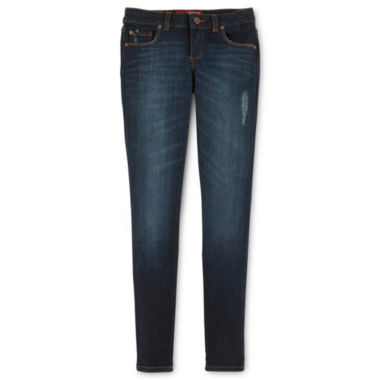 Arizona Destructed Skinny Jeans- Girls 7-16 and Plus
