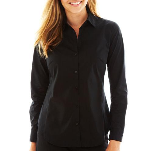 Worthington Long Sleeve Button-Front Shirt-Talls